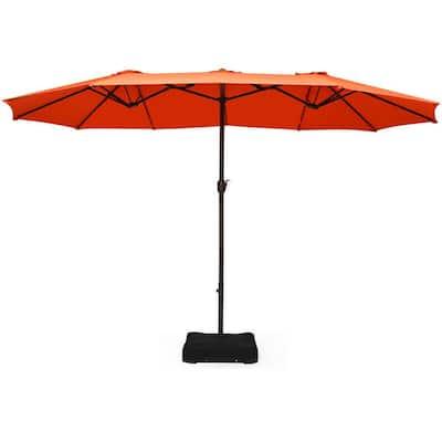 15 ft. Outdoor Patio Market Umbrella in Orange with Crank and Base