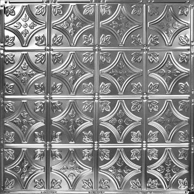 Pattern #3 in Brushed Satin Nickel 2 ft. x 2 ft. Nail Up Tin Ceiling Tile (20 sq. ft./Case)