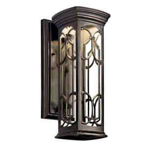 Franceasi 14.5 in. 1-Light Olde Bronze Outdoor Integrated LED Wall Mount Sconce
