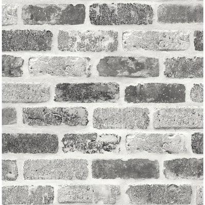 Gray Washed Brick Grey Vinyl Peel & Stick Wallpaper Roll (Covers 30.75 Sq. Ft.)