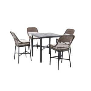 Beacon Park 5-Piece Brown Wicker Outdoor Patio High Dining Set with CushionGuard Chalk White Cushions