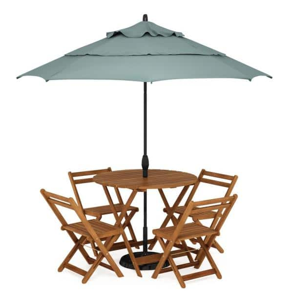 Furinno Tioman Round Hardwood Nation, Outdoor Patio Dining Table With Umbrella Hole