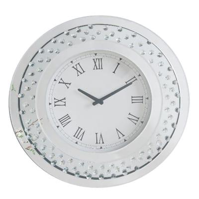 White Wood and Mirror Round Analog Wall Clock