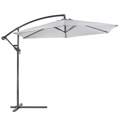 10 ft. Aluminum Outdoor Hanging Market Patio Umbrella in Gray