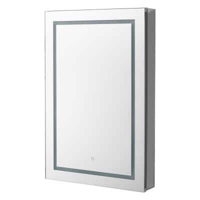 Royale BasicV2 24 in. x 30 in. Recessed or Surface Mount Medicine Cabinet with Single Door, LED Light, Right Hinge