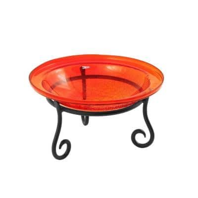 12.5 in. Dia Red Reflective Crackle Glass Birdbath Bowl with Short Stand