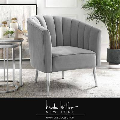 Tibii Grey/Chrome Velvet Accent Chair with Upholstered Barrel Chair