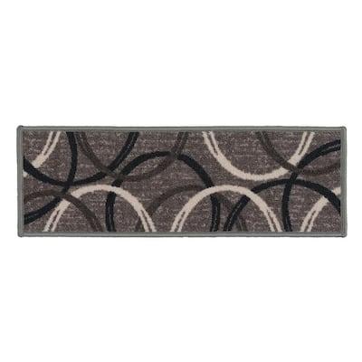 "Moden Wavy Circles Non-Slip Stair Treads 8.6"" x 26"" Gray (Set of 13)"