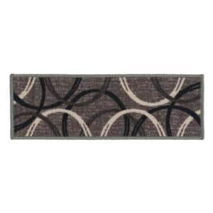 Moden Wavy Circles Non-Slip Stair Treads 8.6'' x 26'' Gray (Set of 4)