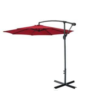 9 ft. Iron Offset Cantilever Tilt Hanging Patio Umbrella in Wine Red