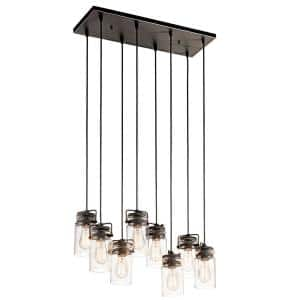 Brinley 8-Light Olde Bronze Linear Chandelier with Clear Glass Shade