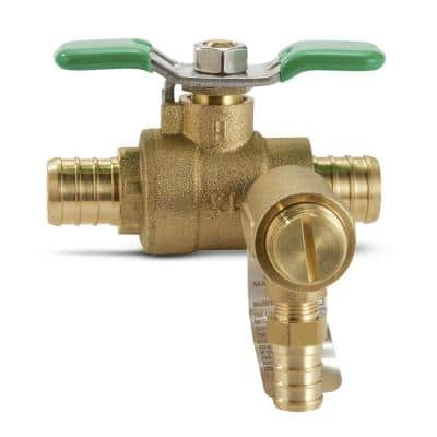 3/4 in. Bronze Full Port Ball Valve with Integral Thermal Expansion Relief Valve with PEX Connections