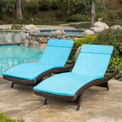 Salem Blue Deep Seating Outdoor Chaise Lounge Cushion (2-Pack)