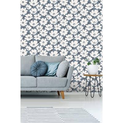 Mia Navy Floral Wallpaper Sample