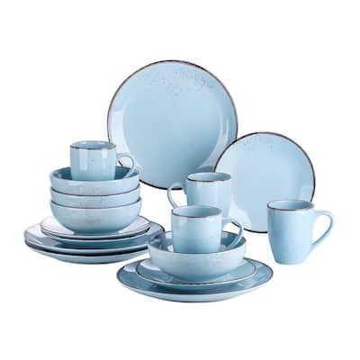 Series Navia Oceano Dinner Set 16-Pieces Light Blue Vintage Porcelain Dinner Plate Cereal Bowl Mug (Service for 4)