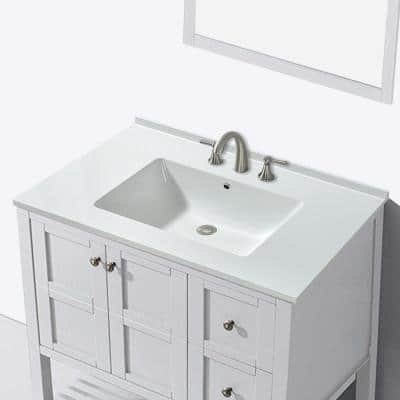 Tamworth 37 in. W x 19 in. D Single Basin Solid Surface Vanity Top in Glossy White with Integrated White Basin