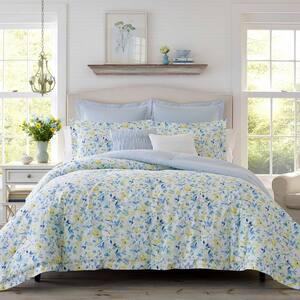 Nora 3-Piece Bright Blue Floral Cotton King Comforter Set