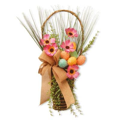 23 in. Easter Basket with Flowers