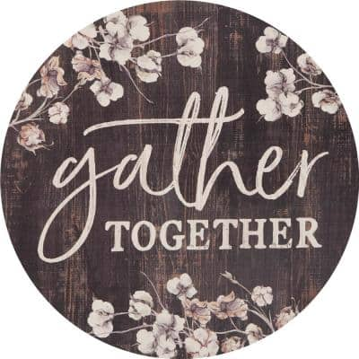 """""""Gather Together"""" Oversized Brown Washed Wood Wall Decor"""