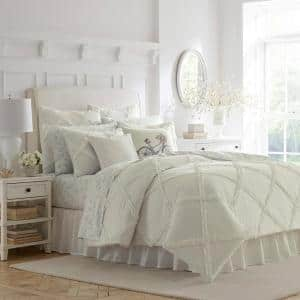 Adelina 3-Piece White Solid Cotton King Duvet Cover Set