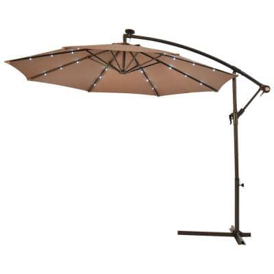 10 ft. Cantilever Hanging Solar LED Sun Shade Patio Umbrella in Tan with Cross Base
