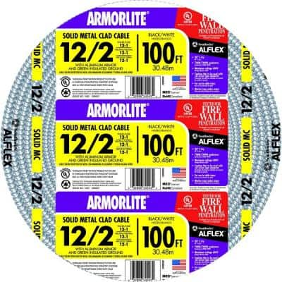 100 ft. 12-Gauge/2-Gauge Solid CU MC (Metal Clad) Armorlite Cable
