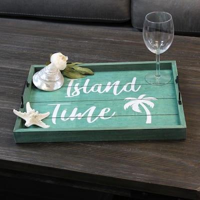 """Island Time"" Aqua Wash Decorative Wood Serving Tray"