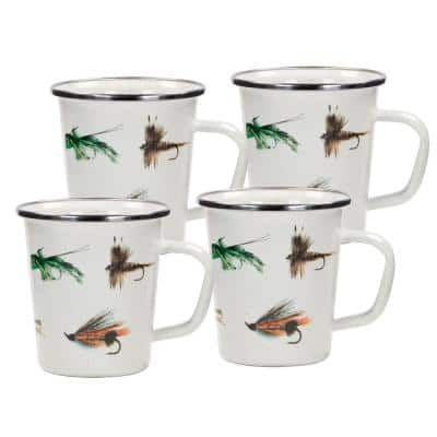 16 oz. Fishing Fly Enamelware Latte Mugs (Set of 4)