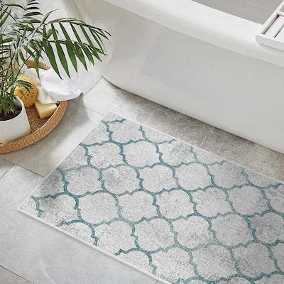 Gray-Teal Color Geometric Trellis Design Cotton Non-Slip Washable Thin 3 Piece Bathroom Rugs Sets