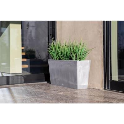 Midori 39 in. Charcoal Plastic Long Trough Planter