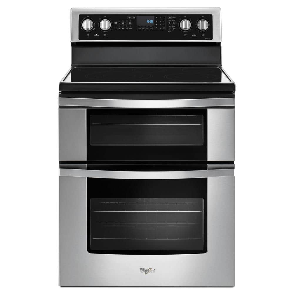 Whirlpool 6 7 Cu Ft Double Oven Electric Range With True Convection In Stainless Steel Wge745c0fs The Home Depot