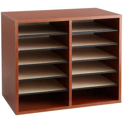 Wood Literature Adjustable 12 Compartment Organizer
