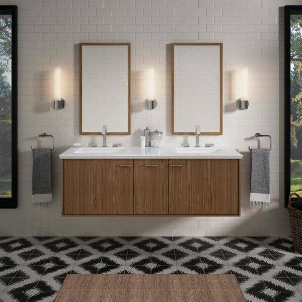Kohler Jute 60 In Bath Vanity Cabinet Only In Walnut Flax K 99548 Sd 1wm The Home Depot