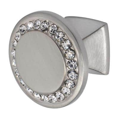 Isabel 1-1/4 in. Satin Nickel with Clear Crystal Cabinet Knob
