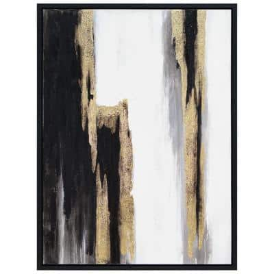 """""""Solemn Night"""" by Martin Edwards Framed Textured Metallic Abstract Hand Painted Wall Art 40 in. x 30 in."""