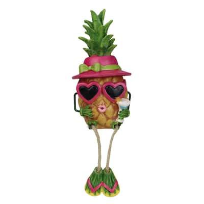 9 in. Summertime Dangling Leg Pineapple Girl Garden Statue