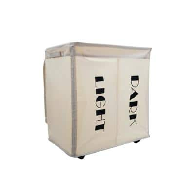 105 L Beige Double Rolling Laundry Hamper with Wheels, Dirty Clothes Storage