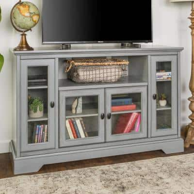 Highboy 52 in. Antique Gray Composite TV Stand 56 in. with Glass Doors