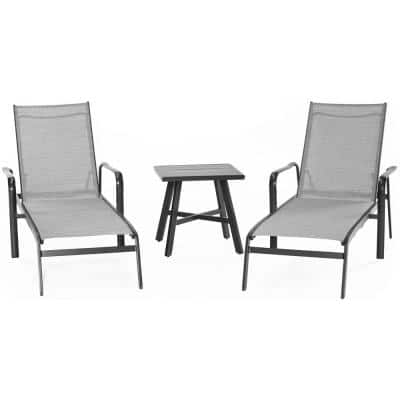 Foxhill 3-Piece All-Weather Commercial Rust-Free Aluminum Outdoor Chaise Lounge Chair Set with Sunbrella Sling and Table