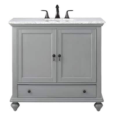 Newport 37 in. W x 21-1/2 in. D Bath Vanity in Pewter with Granite Vanity Top in Grey