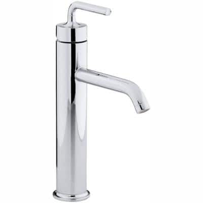 Purist Tall Single Hole Single Handle Low-Arc Bathroom Vessel Sink Faucet with Straight Lever Handle in Polished Chrome