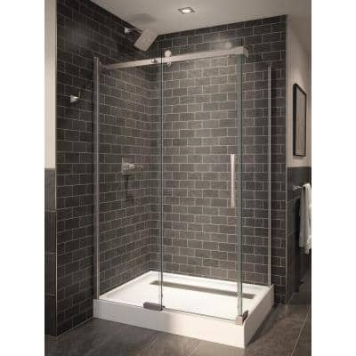5/16 in. x 34.75 in. x 72 in. Frameless 1-Piece Direct-to-Stud Corner Shower Glass Panel in Stainless