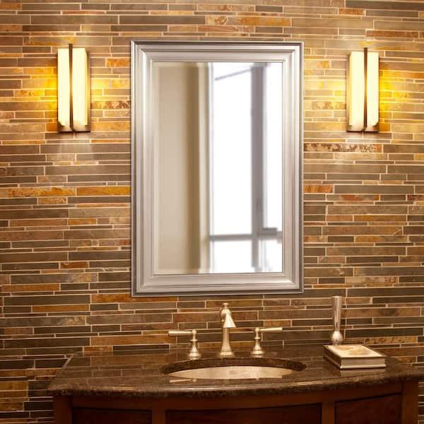 18 In W X 30 In H Framed Rectangular Bathroom Vanity Mirror In Brushed Nickel 53048 The Home Depot