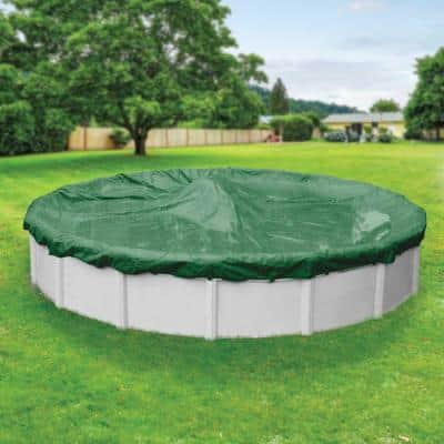 Titan 28 ft. Round Green Solid Above Ground Winter Pool Cover
