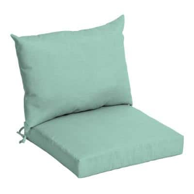 21 in. x 17 in. 2-Piece Deep Seating Outdoor Lounge Chair Cushion in Aqua Leala Texture