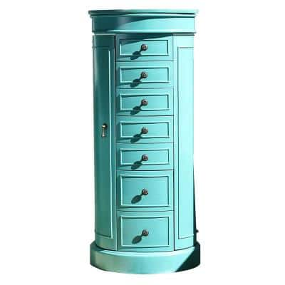 Sabrina Jewelry Armoire Turquoise 41 in. x 18 in. x 13.75 in.