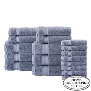 Egyptian Cotton 18-Piece Towel Set in Steel Blue