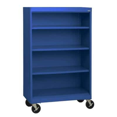 58 in. Blue Metal 4-shelf Cart Bookcase with Adjustable Shelves