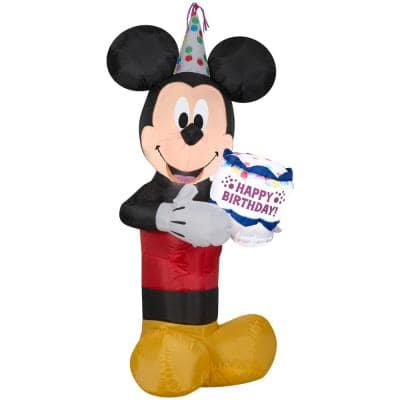 3.5 ft. Tall Airblown Mickey with Birthday Cake