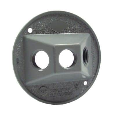 4 in. Round Gray Weatherproof Cluster Cover with Three 1/2 in. Outlets